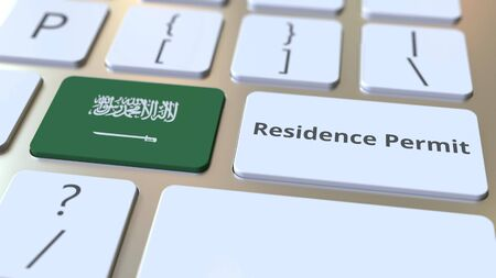 Photo pour Residence Permit text and flag of Saudi Arabia on the buttons on the computer keyboard. Immigration related conceptual 3D rendering - image libre de droit