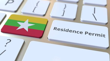 Photo pour Residence Permit text and flag of Myanmar on the buttons on the computer keyboard. Immigration related conceptual 3D rendering - image libre de droit