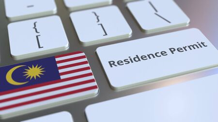 Photo pour Residence Permit text and flag of Malaysia on the buttons on the computer keyboard. Immigration related conceptual 3D rendering - image libre de droit