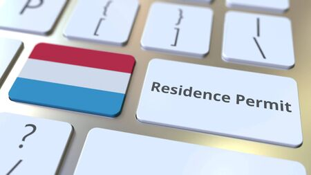 Photo pour Residence Permit text and flag of Luxembourg on the buttons on the computer keyboard. Immigration related conceptual 3D rendering - image libre de droit