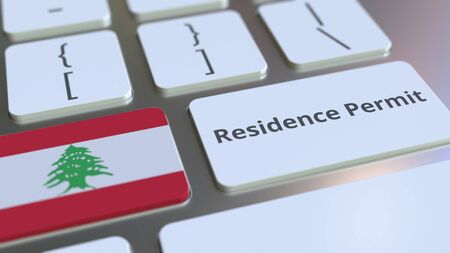 Photo pour Residence Permit text and flag of Lebanon on the buttons on the computer keyboard. Immigration related conceptual 3D rendering - image libre de droit