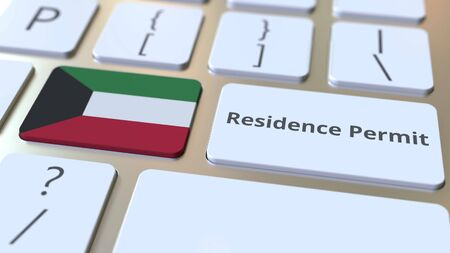 Photo pour Residence Permit text and flag of Kuwait on the buttons on the computer keyboard. Immigration related conceptual 3D rendering - image libre de droit