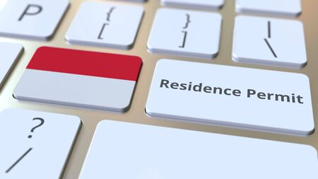 Photo pour Residence Permit text and flag of Indonesia on the buttons on the computer keyboard. Immigration related conceptual 3D rendering - image libre de droit