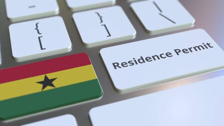 Photo pour Residence Permit text and flag of Ghana on the buttons on the computer keyboard. Immigration related conceptual 3D rendering - image libre de droit