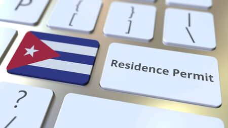Photo pour Residence Permit text and flag of Cuba on the buttons on the computer keyboard. Immigration related conceptual 3D rendering - image libre de droit