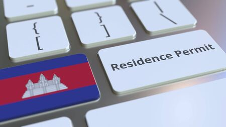 Photo pour Residence Permit text and flag of Cambodia on the buttons on the computer keyboard. Immigration related conceptual 3D rendering - image libre de droit