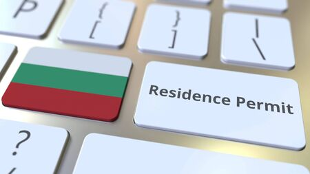 Photo pour Residence Permit text and flag of Bulgaria on the buttons on the computer keyboard. Immigration related conceptual 3D rendering - image libre de droit