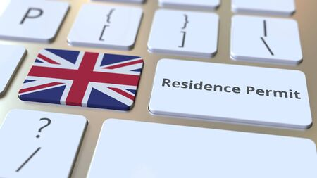 Photo pour Residence Permit text and flag of Great Britain on the buttons on the computer keyboard. Immigration related conceptual 3D rendering - image libre de droit