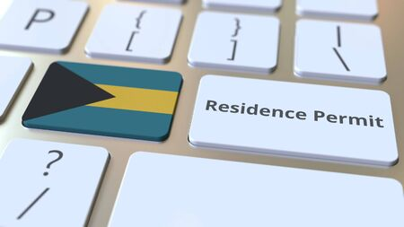 Photo pour Residence Permit text and flag of the Bahamas on the buttons on the computer keyboard. Immigration related conceptual 3D rendering - image libre de droit