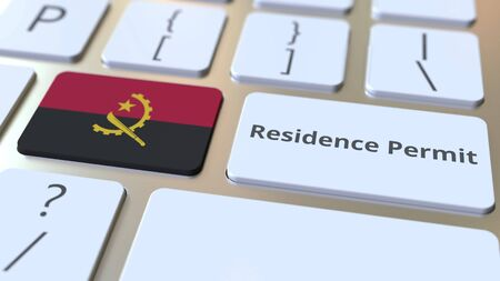 Photo pour Residence Permit text and flag of Angola on the buttons on the computer keyboard. Immigration related conceptual 3D rendering - image libre de droit