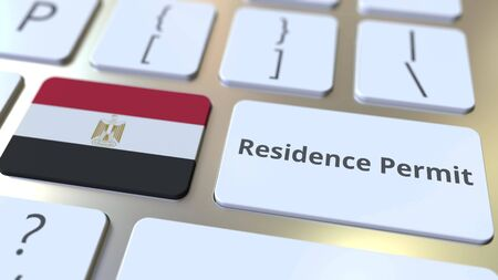 Photo pour Residence Permit text and flag of Egypt on the buttons on the computer keyboard. Immigration related conceptual 3D rendering - image libre de droit