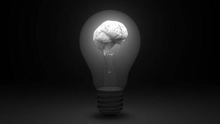Foto de Glowing brain inside a light bulb. Idea or insight related conceptual 3D - Imagen libre de derechos