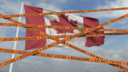 Photo for Biohazard restriction tape lines against the Canadian flag. Restricted entry or quarantine in Canada. Conceptual 3D rendering - Royalty Free Image