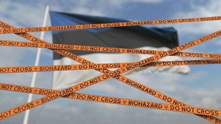 Photo for Biohazard restriction tape lines against the flag. Restricted entry or quarantine. Conceptual 3D - Royalty Free Image