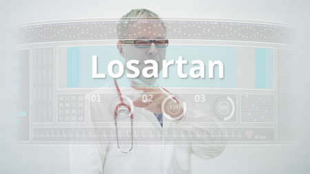LOSARTAN generic drug name scrolled by a doctor on a modern screenの素材 [FY310153077971]