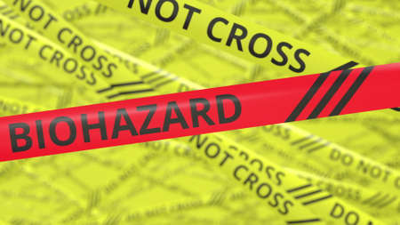 Photo for Yellow and red warning tapes with DO NOT CROSS and BIOHAZARD text. Conceptual 3d rendering - Royalty Free Image