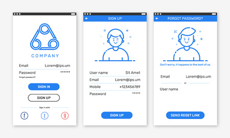 Vector Illustration Of Onboarding App Screens Material Design Ux Ui Gui Screen Layout With Login Screens Including Account Sign In Sign Up Forget Password For Mobile Apps And Responsive Website Royalty Free Vector