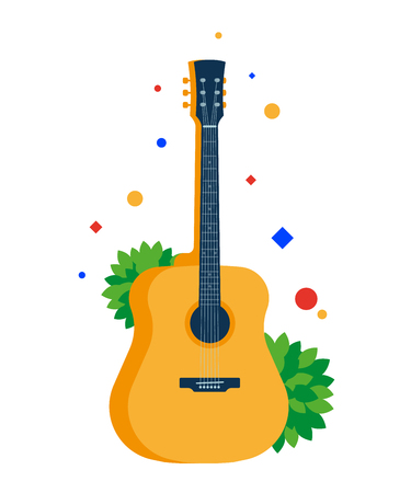 Illustration pour Classical acoustic guitar. Musical string instrument. Vector, flat illustration EPS 10. Separate objects. Isolated. - image libre de droit