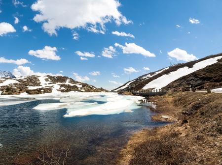 San Bernardino pass, Switzerland : Lake San Bernardino during thawing of the water.