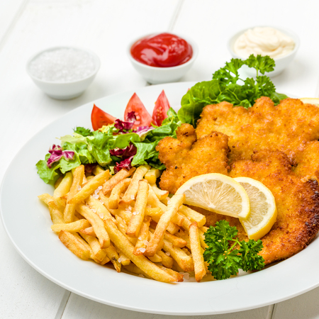 Chicken cutlets with french fries, ketchup, mayo, lemon and salad