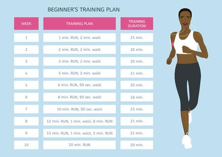 Foto de Training program for beginners. Jogging plan. Young African woman running - Imagen libre de derechos