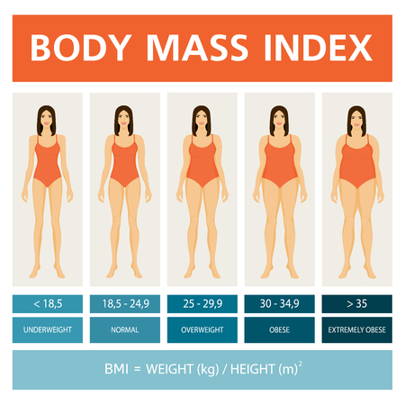 Body Mass Index Illustration with women figures.