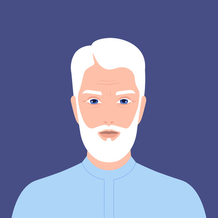 Illustration for Portrait of an arab man with a beard. Retiree. Grandfather. Vector flat illustration - Royalty Free Image