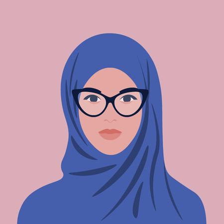 Ilustración de Portrait of an arabian woman in hijab and glasses. Muslim girl avatar. Vector flat illustration - Imagen libre de derechos