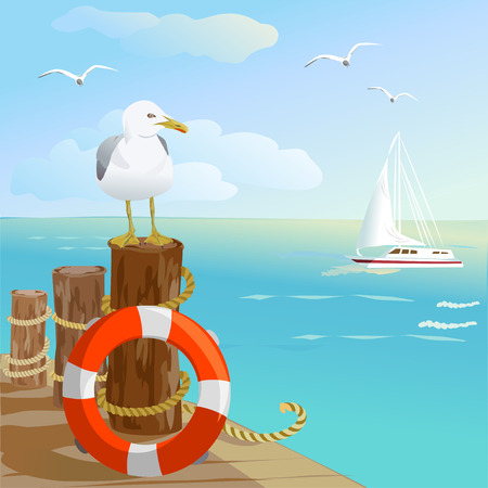 sea, gull, pier, and lifebuoy. vector illustration