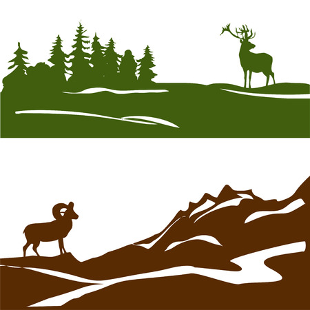 banner with the mountain landscape and forest, silhouette. vector illustration