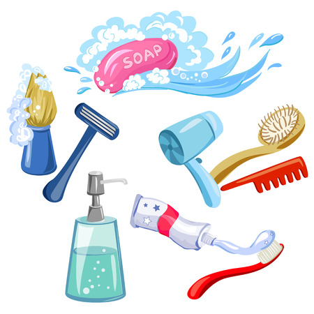 hygiene, personal care, items. vector illustration