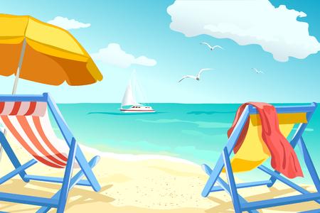 Illustration pour recreation, relaxing on the beach, loungers for couples. vector illustration - image libre de droit