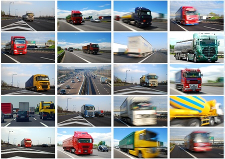 Photo for Photo collage of trucks and roads in Europe - Royalty Free Image