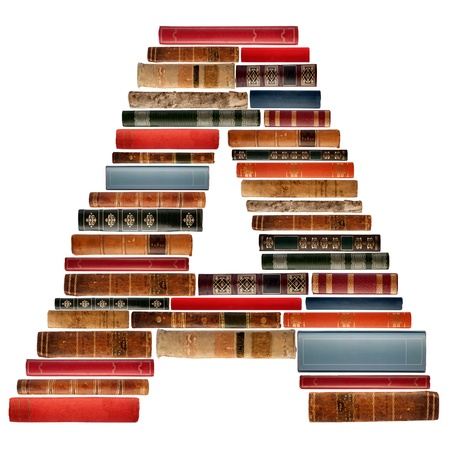 A - Font composed of spines of books