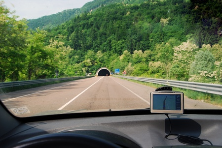 GPS - Global position solution - Satellite navigation system in use in a car on a road.