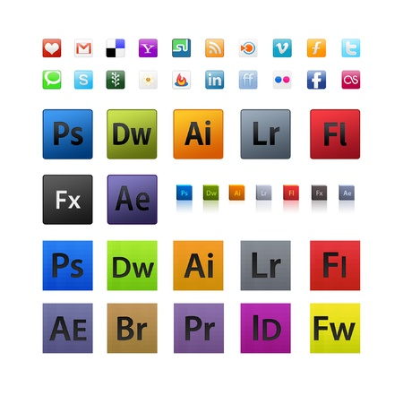 Various and Adobe icons set in different sizes