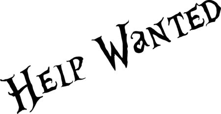 Illustration for Help wanted text sign illustration on white background - Royalty Free Image