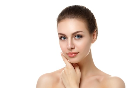 Photo for Portrait of young beautiful caucasian woman touching her face isolated over white background. Cleaning face, perfect skin. SPA therapy, skincare, cosmetology, hair removal or plastic surgery concept - Royalty Free Image