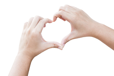 hands in the shape of heart with isolated background