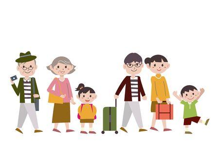 Illustration pour Family Gathering Walk - image libre de droit