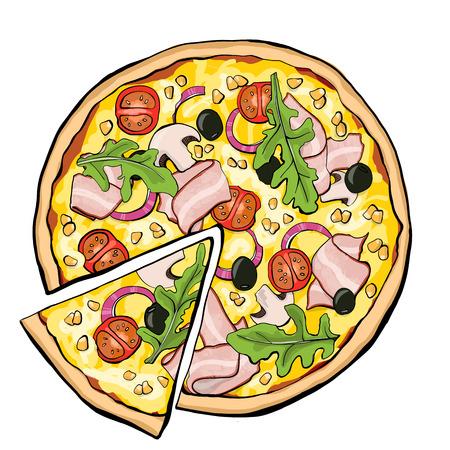 Ilustración de Pizza with bacon, slice - Imagen libre de derechos