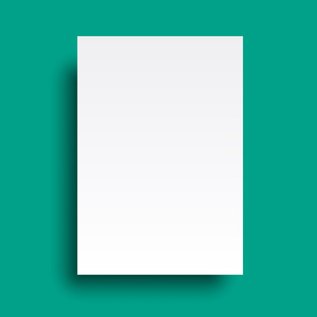 Vector A4 mockup isolated on cyan background