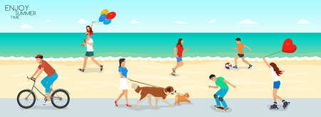 A collection of people actively vacationing in the summer by the sea