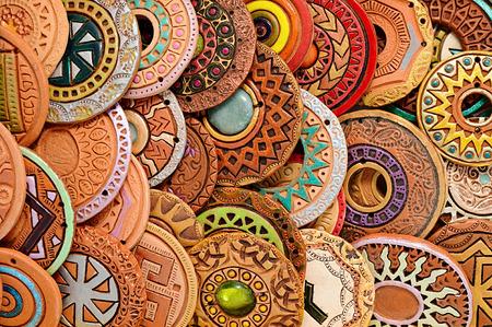 Photo for Handmade Ethnic Clay Beaded Jewelry Handmade jewelry background. photo Image - Royalty Free Image