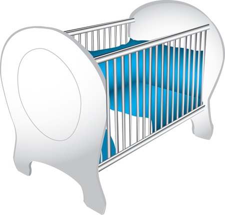 Illustration of a wooden white baby's crib with blue bedding, isolated against a white background.
