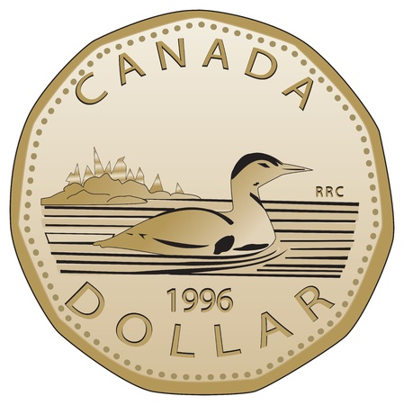 Canadian dollar fully vectorized  Very detailed, realistic front view of a Canadian dollar