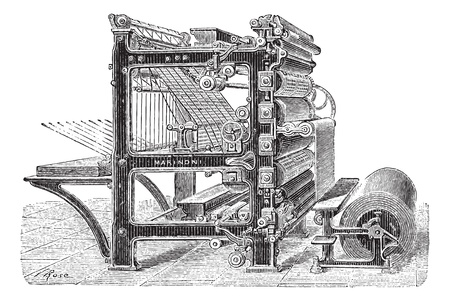 Old engraved illustration of Marinoni Rotary printing press with a roll of paper moving inside it, this machine can produce 20,000 copies of journals at one time and it can come with mechanical brakes as well. Dictionary of words and things - Larive and F