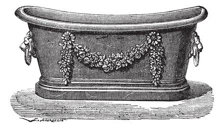 Old engraved illustration of zinc bathtub. Industrial encyclopedia E.-O. Lami - 1875.