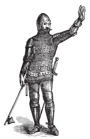 Illustration pour French soldier in armor in 1370, old engraving. Vector, engraved illustration of soldier in armor in the medieval era. - image libre de droit