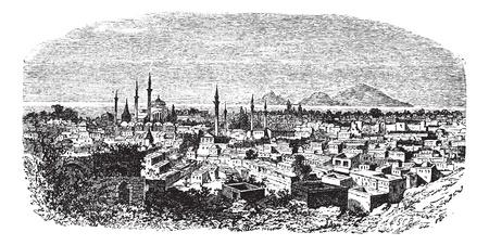 Konieh or Koniah or Konya city anciently known as Iconium vintage engraving. Old engraved illustration of Konieh cityscape anciently known as Iconium,